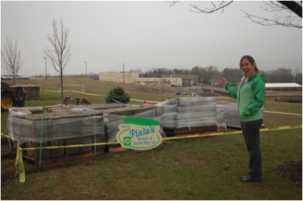 Picture 4: Donated hardscape was delivered on pallets prior to the installation